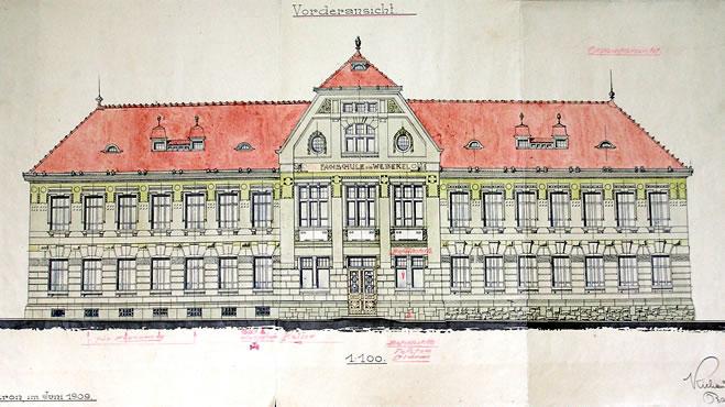 Plán školy z roku 1909